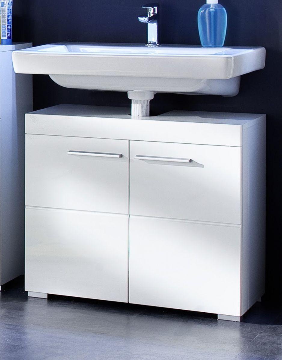 Waschbeckenunterschrank Amanda Hochglanz weiss 60 cm