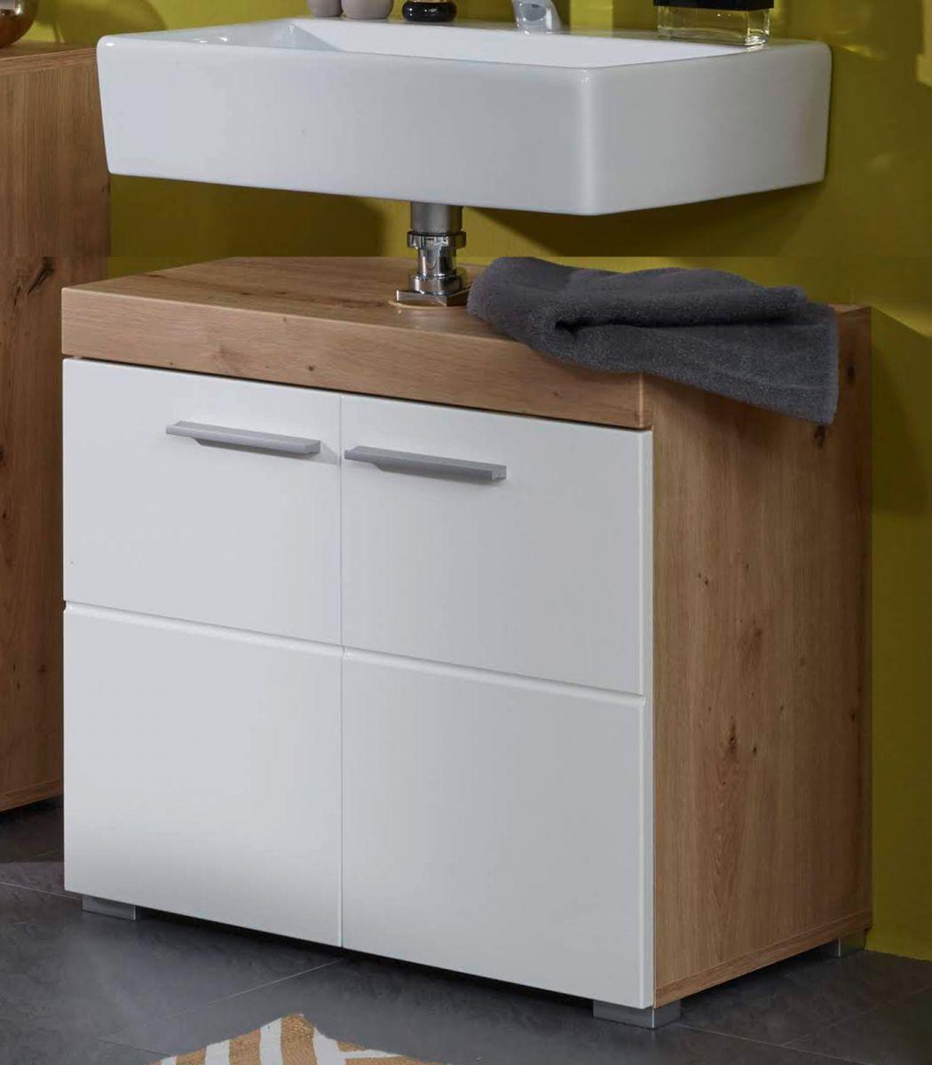 Waschbeckenunterschrank Amanda Hochglanz weiss und Eiche 60 cm
