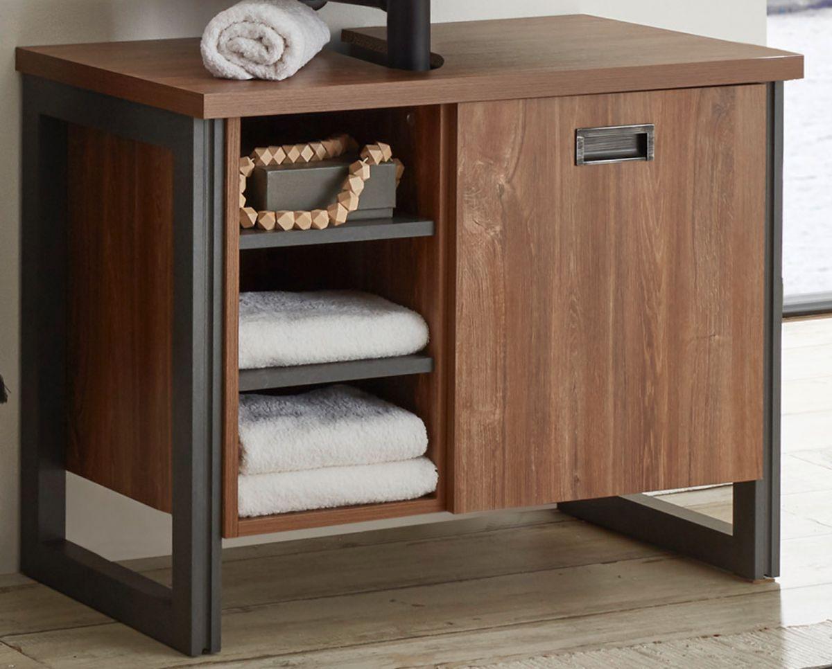 Waschbeckenunterschrank Auburn Eiche Stirling und Matera grau 81 x 62 cm