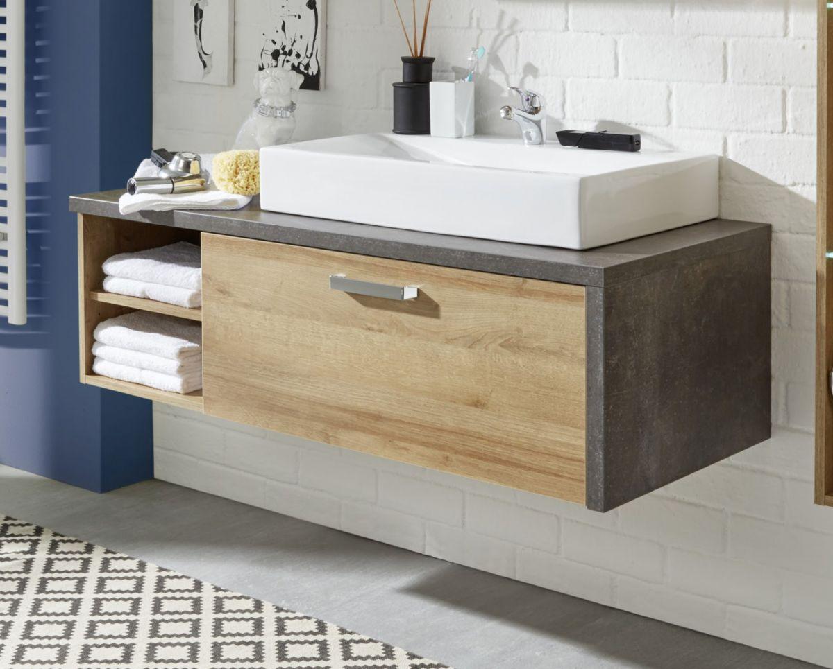 Waschbeckenunterschrank Bay Eiche Riviera Honig Beton grau Waschtisch opt- mit Waschbecken 120 cm