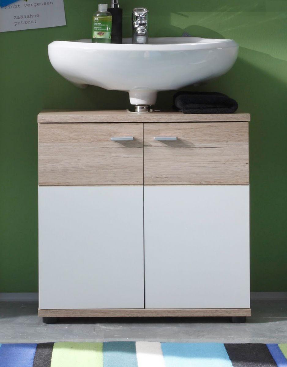 Waschbeckenunterschrank Campus Eiche San Remo hell und weiss 60 cm
