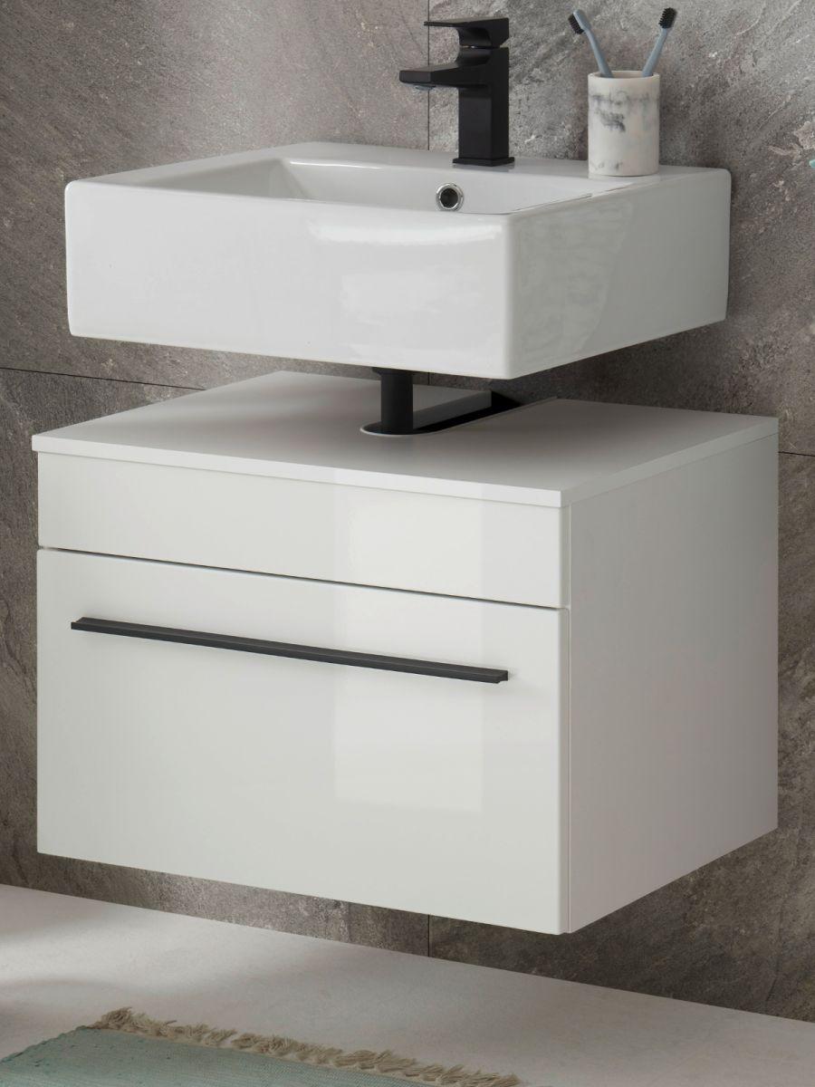 Waschbeckenunterschrank hängend Design-D in Hochglanz weiss 60 cm
