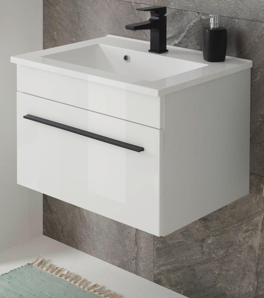 Waschbeckenunterschrank hängend mit Waschbecken Design-D in Hochglanz weiss 60 cm