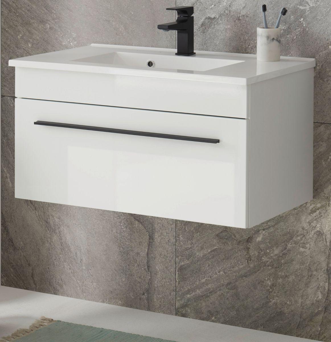 Waschbeckenunterschrank hängend mit Waschbecken Design-D in Hochglanz weiss 80 cm