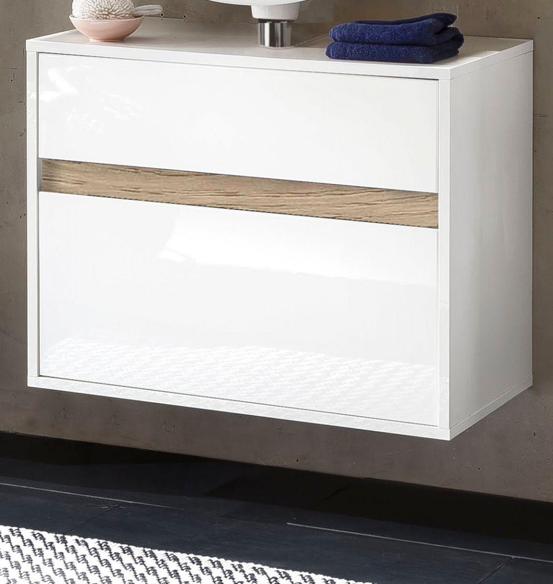 Waschbeckenunterschrank Hängeschrank weiss Hochglanz Lack und Alteiche Sol 67x52 cm