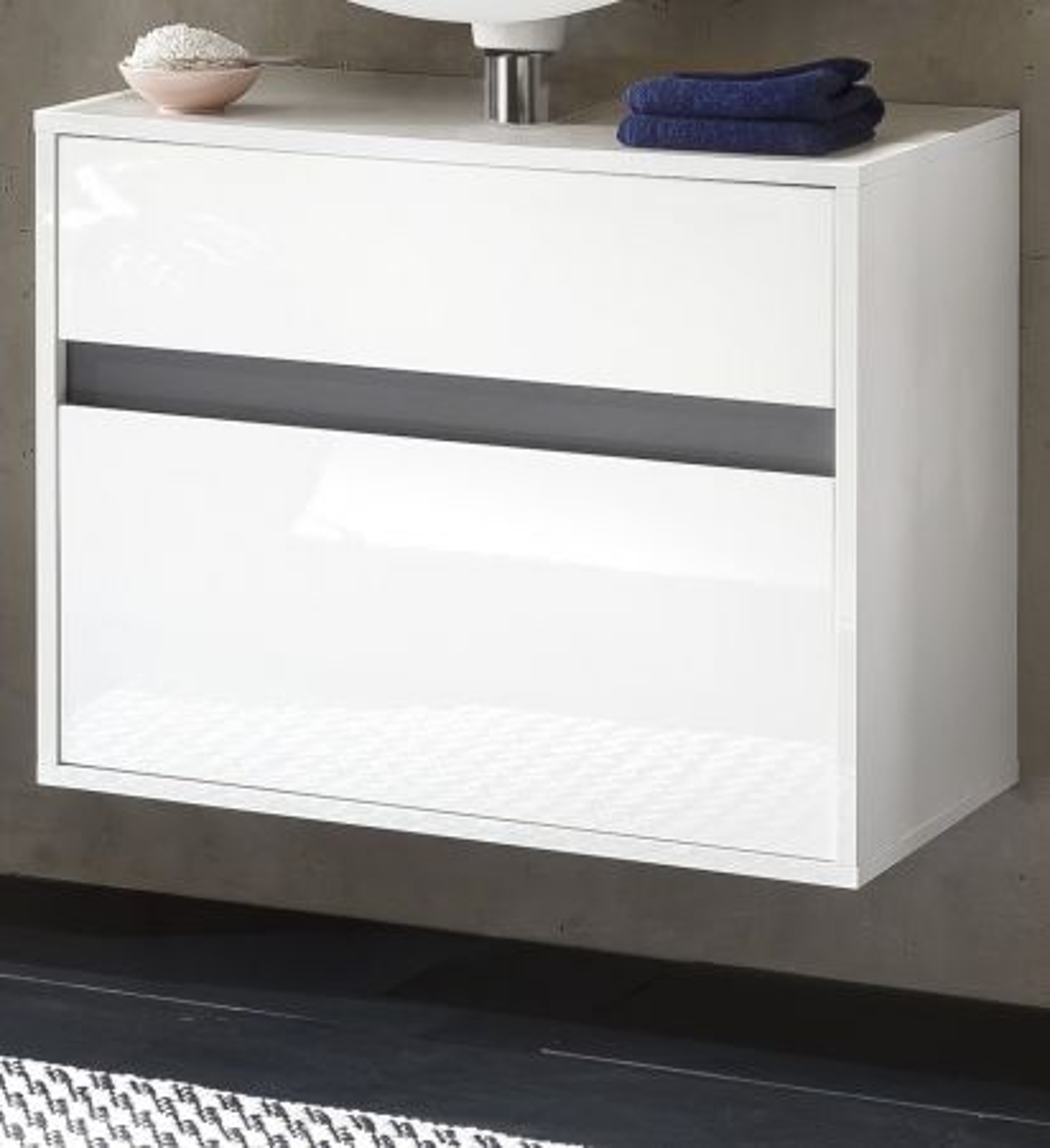 Waschbeckenunterschrank Hängeschrank weiss Hochglanz Lack und grau Sol 67x52 cm