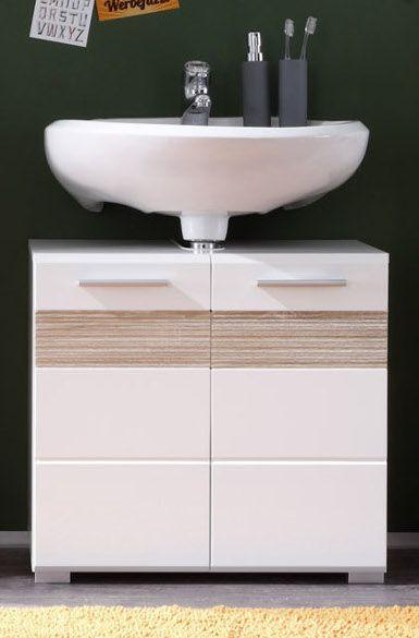 Waschbeckenunterschrank Mezzo in weiss Hochglanz und Sonoma Eiche 60 cm