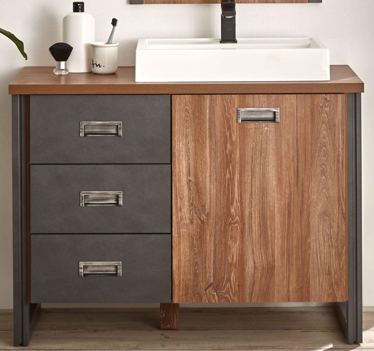Waschbeckenunterschrank mit Waschbecken Auburn Eiche Stirling und Matera grau 91 x 75 cm