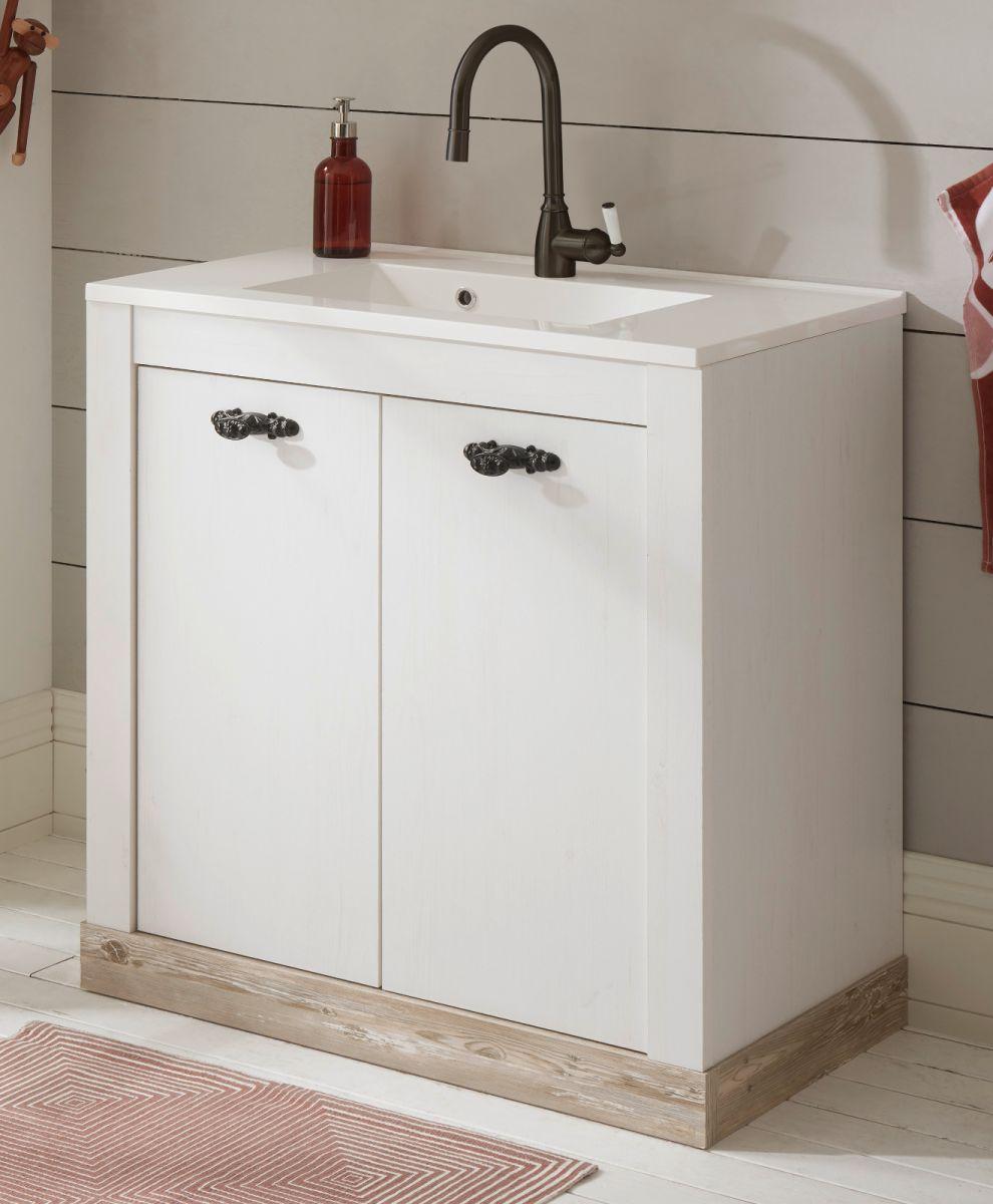 Waschbeckenunterschrank mit Waschbecken Rovola in Pinie weiss Landhaus 80 cm