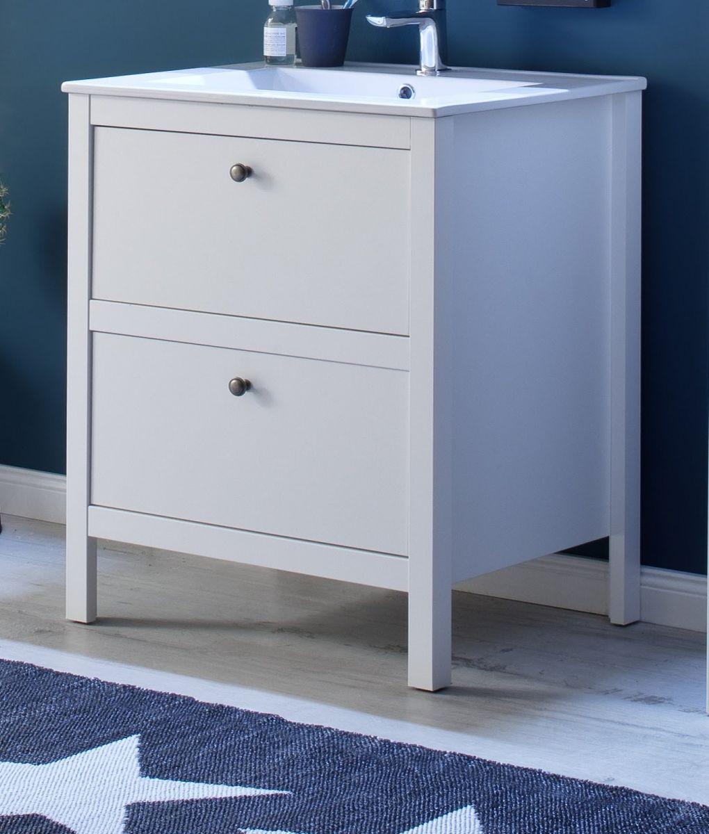 Waschbeckenunterschrank Ole weiss inkl- Waschbecken Badmöbel Set 2-teilig 61 cm