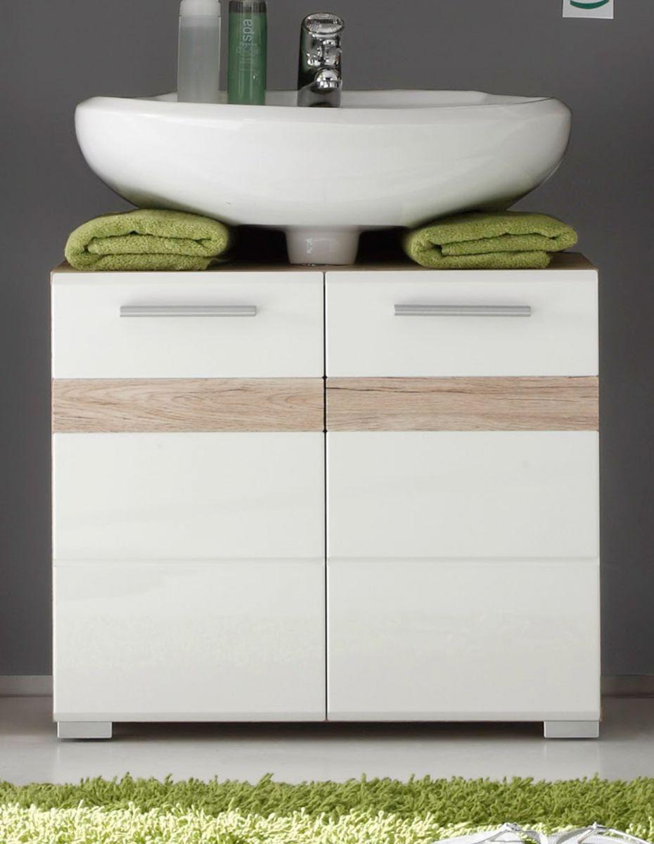 Waschbeckenunterschrank SetOne Hochglanz weiss und Eiche 60 cm