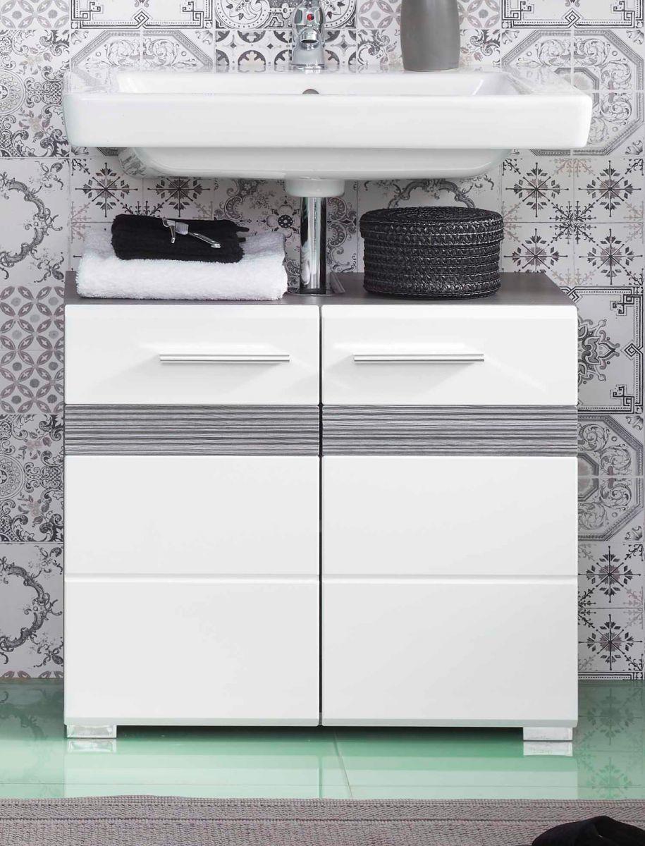 Waschbeckenunterschrank SetOne Hochglanz weiss und Sardegna grau 60 x 56 cm