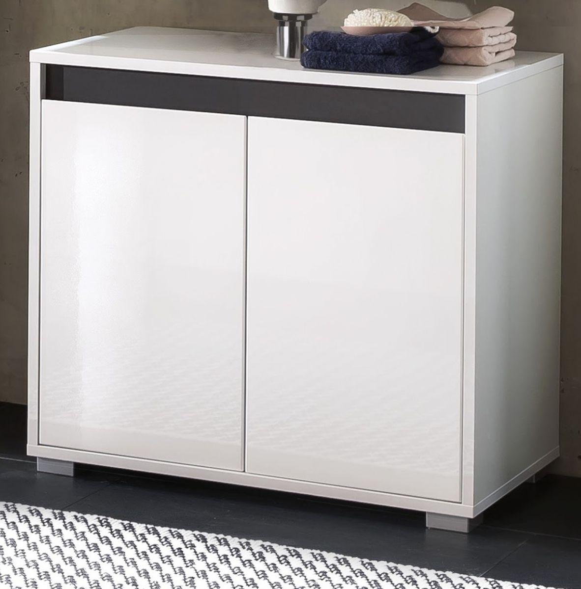 Waschbeckenunterschrank SOL Lack Hochglanz weiss und grau 67x60 cm