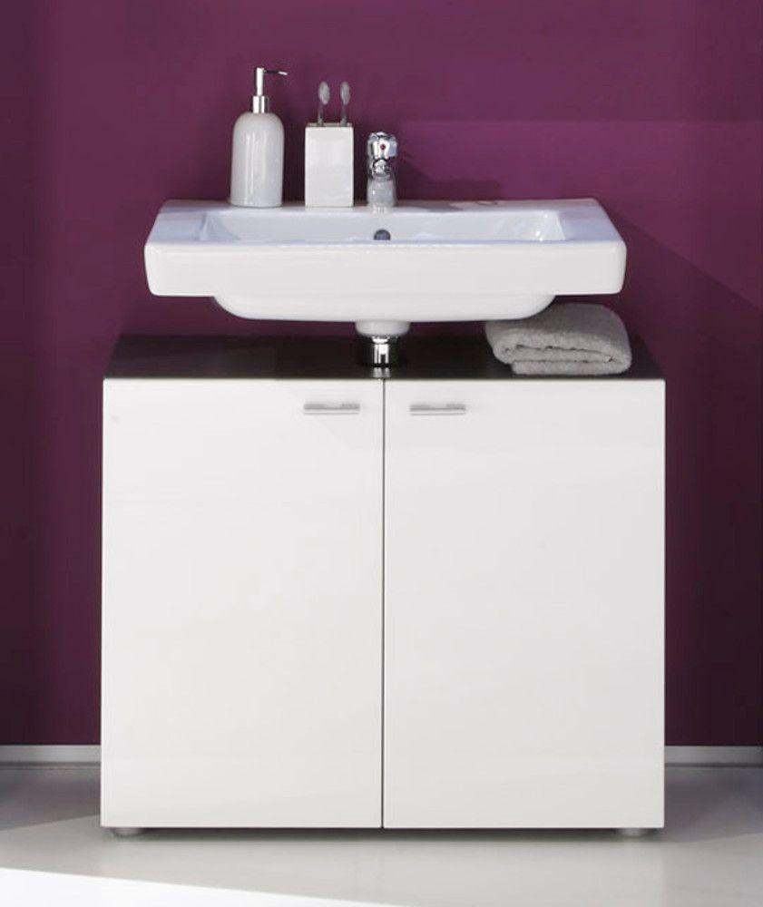Waschbeckenunterschrank weiss Hochglanz Graphit grau 70 cm Tetis