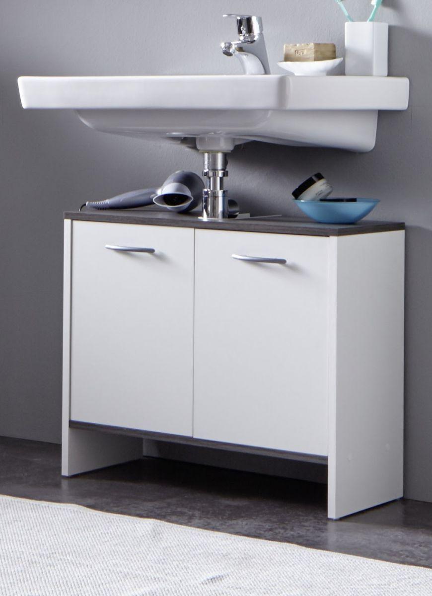 Waschbeckenunterschrank weiss und Sardegna grau - Rauchsilber 60 cm Badmöbel California