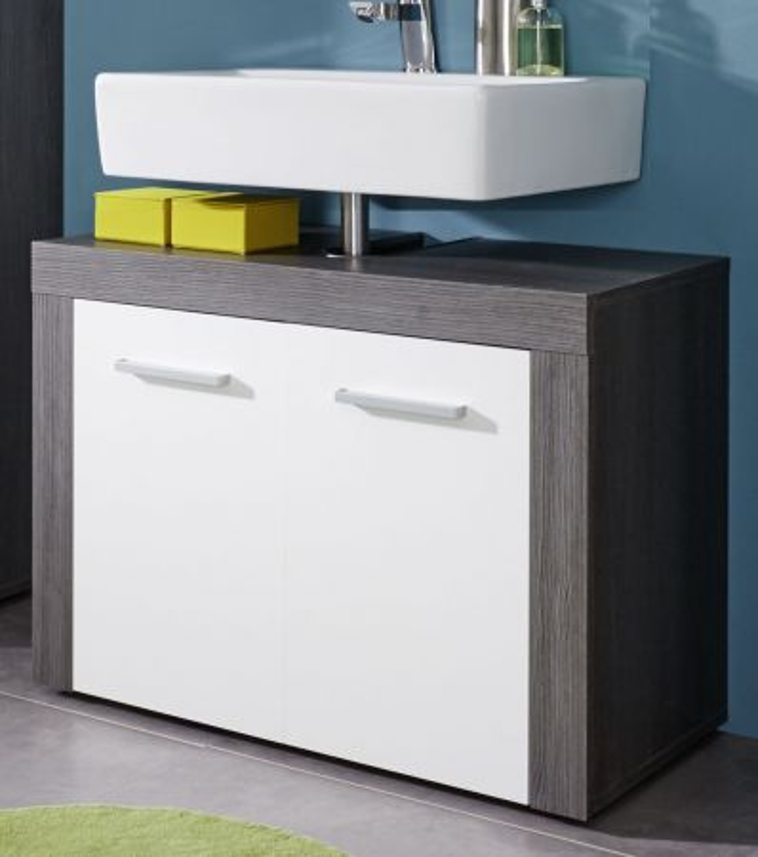 Waschbeckenunterschrank weiss und Sardegna grau Rauchsilber Badmöbel Miami 72 x 56 cm