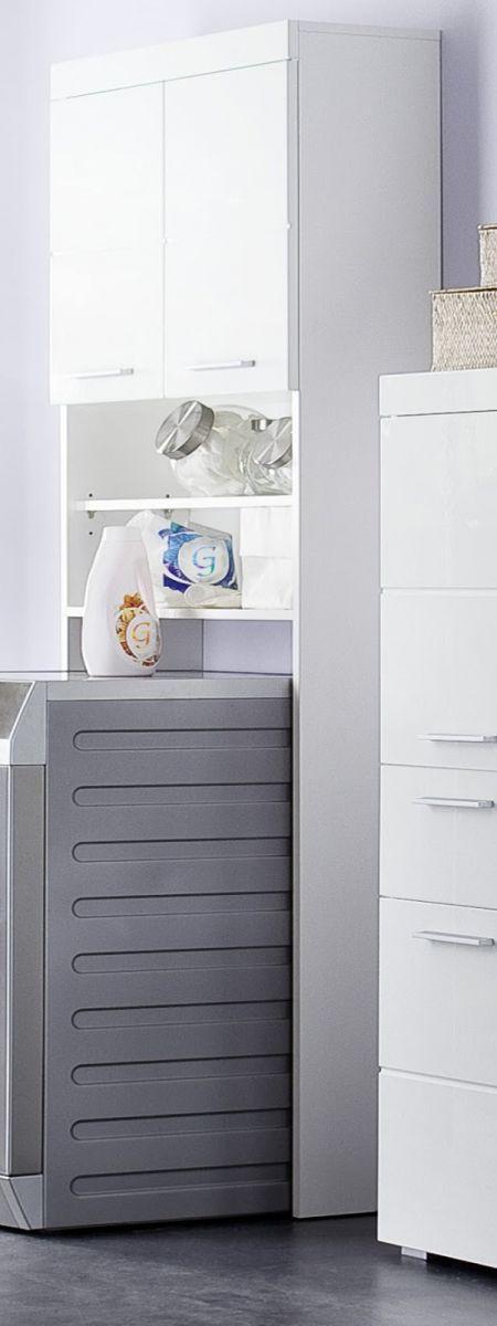 Waschmaschinenschrank Amanda Hochglanz weiss 63 cm