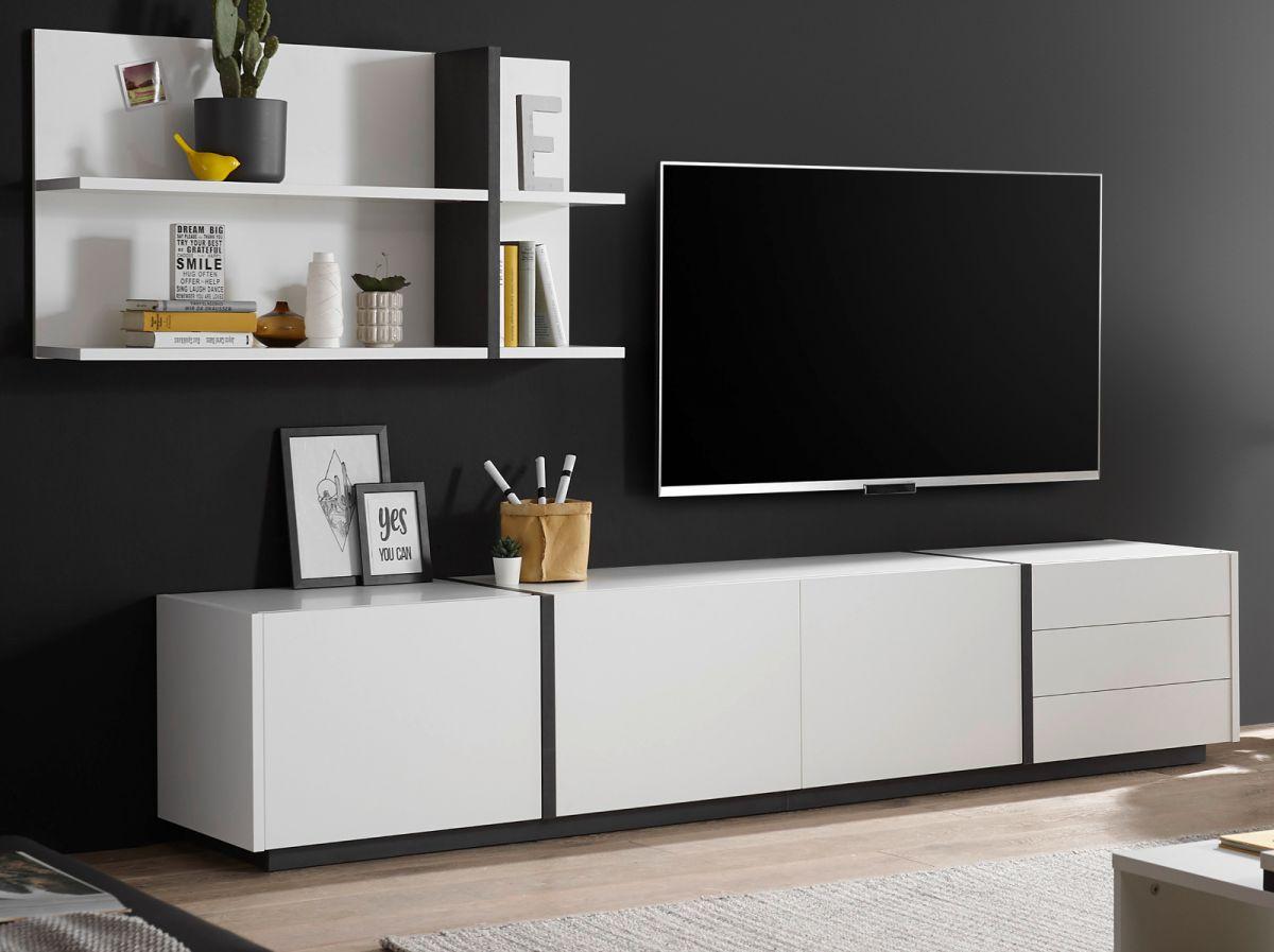 Wohnwand 2-teilig Design-M in weiss matt und Fresco grau 277 x 170 cm