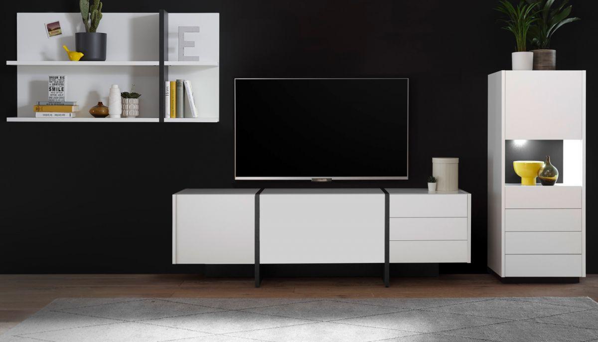 Wohnwand 3-teilig Design-M in weiss matt und Fresco grau 312 x 170 cm