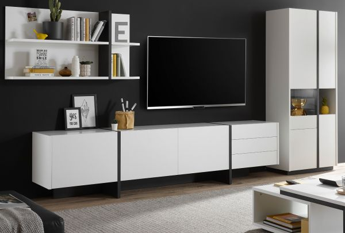 Wohnwand 3-teilig Design-M in weiss matt und Fresco grau 370 x 185 cm
