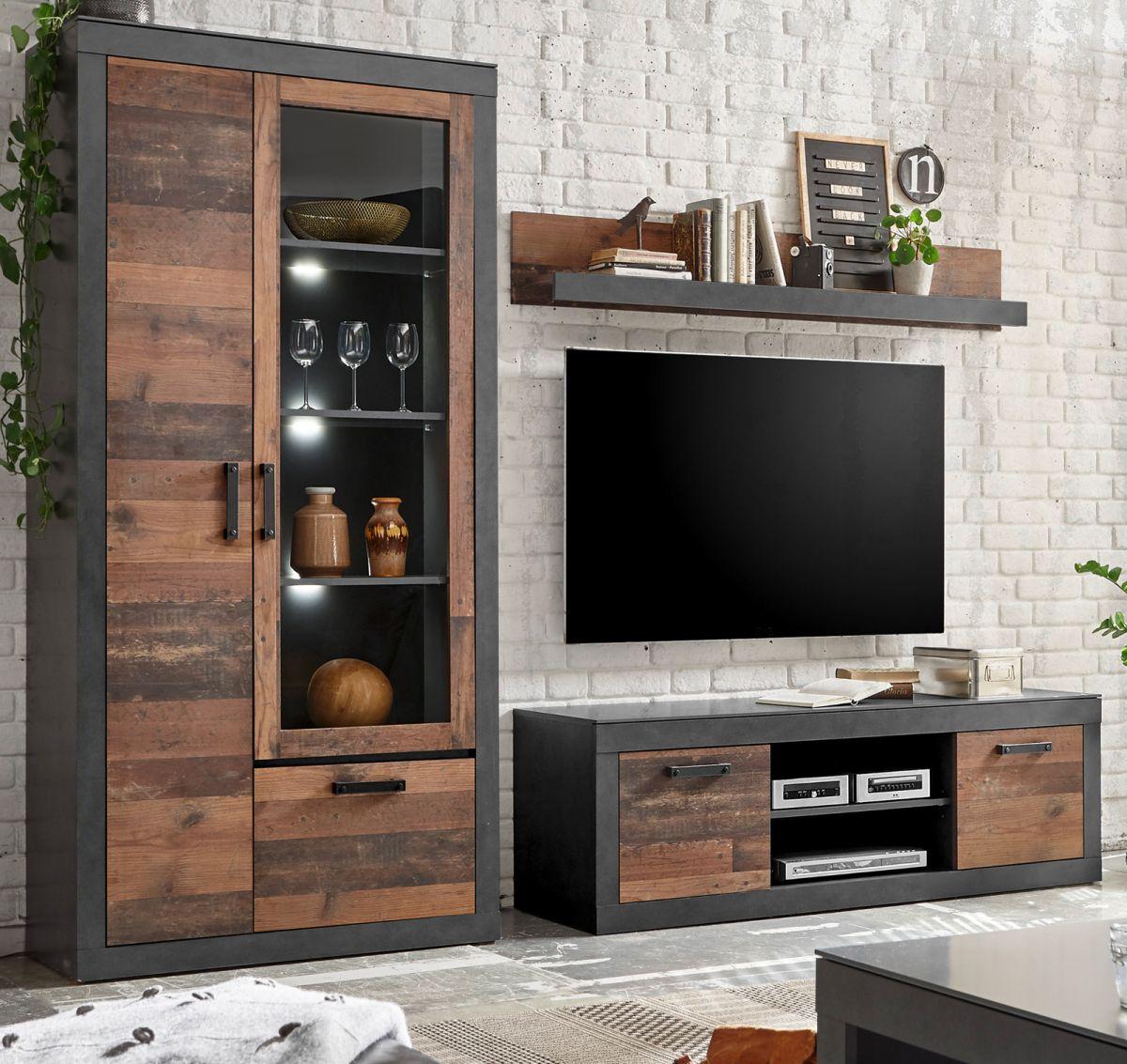Wohnwand 3-teilig Ward in Used Wood Shabby und Matera grau 260 x 201 cm