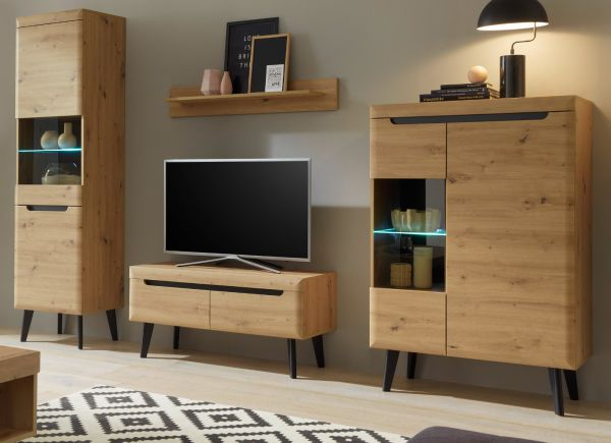 Wohnwand 4-teilig Ronson in Eiche Artisan und schwarz 290 x 197 cm