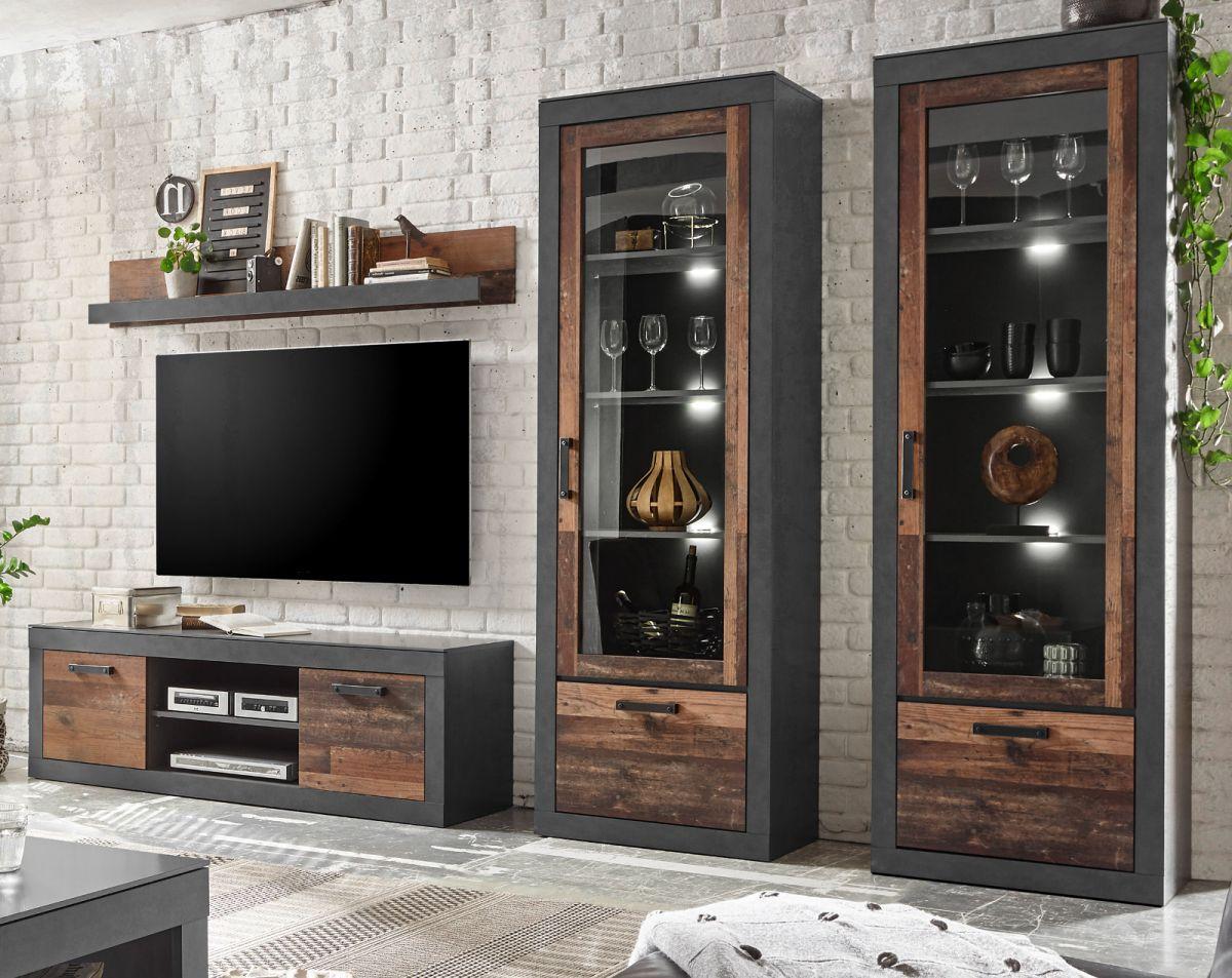 Wohnwand 4-teilig Ward in Used Wood Shabby und Matera grau 300 x 201 cm