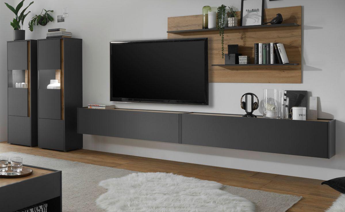 Wohnwand 5-teilig Center in grau matt und Eiche Wotan 440 x 180 cm