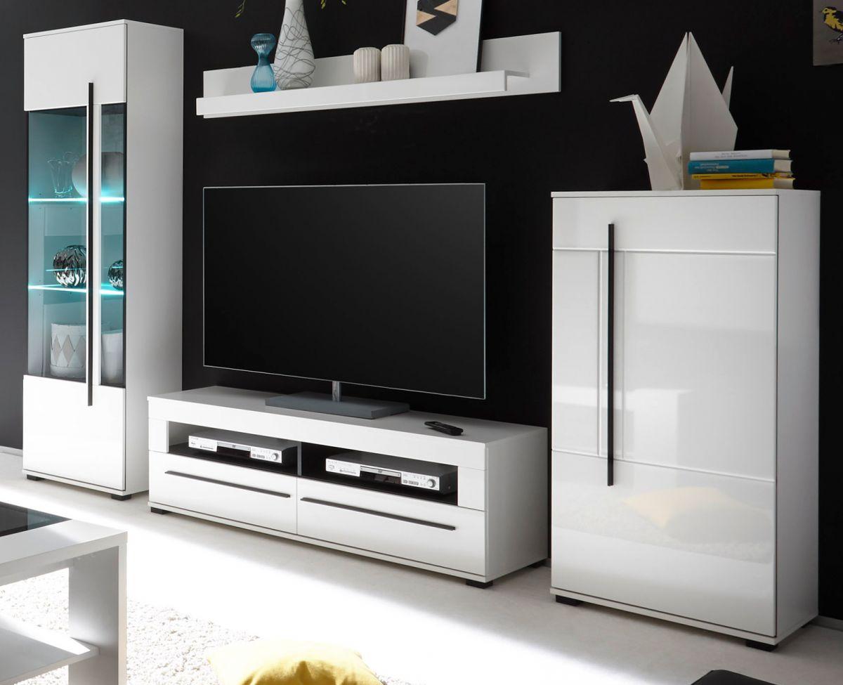 Wohnwand Design-D in Hochglanz weiss 4-tlg- 280 x 200 cm