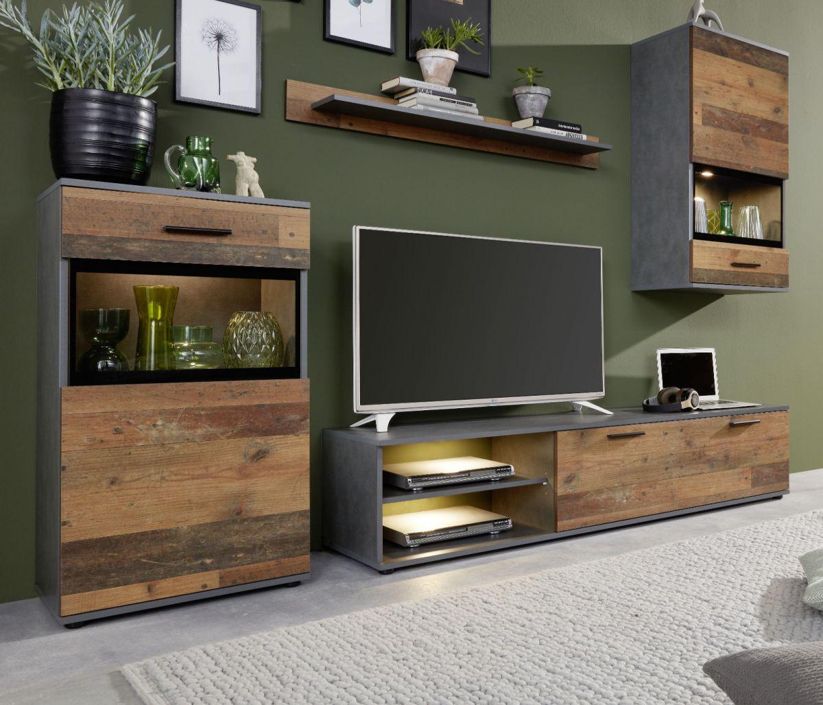 Wohnwand Mango in Used Wood Shabby und Matera grau 246 cm