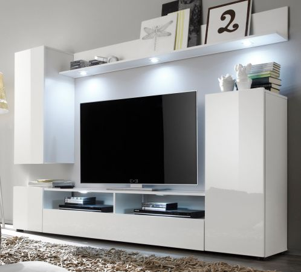 Wohnwand Medienwand Dos in weiss Hochglanz 208 cm Fernsehschrank bis 55