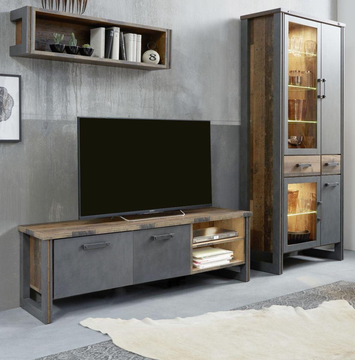 Wohnwand Prime in Old Used Wood und Matera grau 282 cm