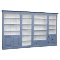 Wohnzimmer Bücherwand Landhaus - weiss blau